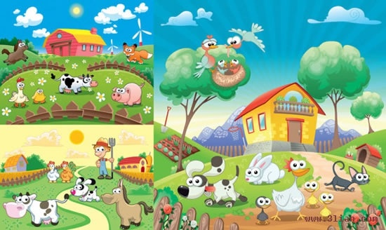 happy farm background templates colorful cute cartoon design