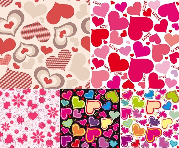 cute hearts background vector