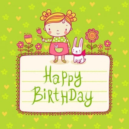 Cute Kid Birthday Card Templates Vector Free Vector In