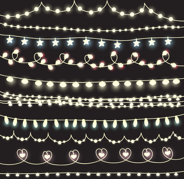 cute lights borders vector set free vector in encapsulated