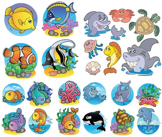 marine species icons cute colored cartoon sketch