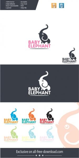 298bda1cb Cute minimalist elephant baby logo concept Free vector in Adobe ...