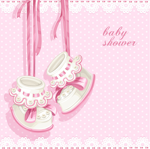 Cute Pink Baby Shower Card Vector Free Vector In Encapsulated
