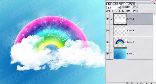 cute rainbow clouds wallpaper psd layered
