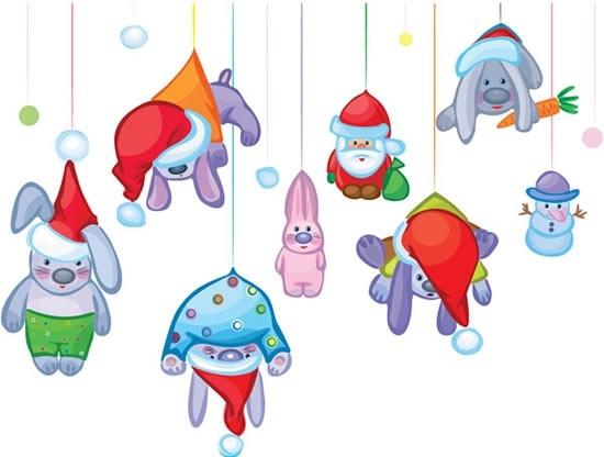 christmas background hanging santa rabbit snowman icons