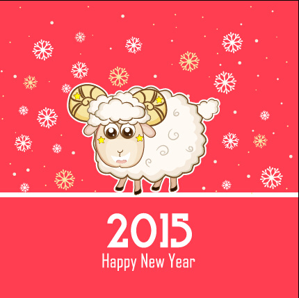 cute sheep and pink15 new year background
