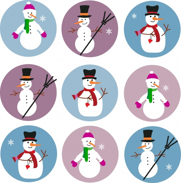 snowman icons cute colored design circles isolation