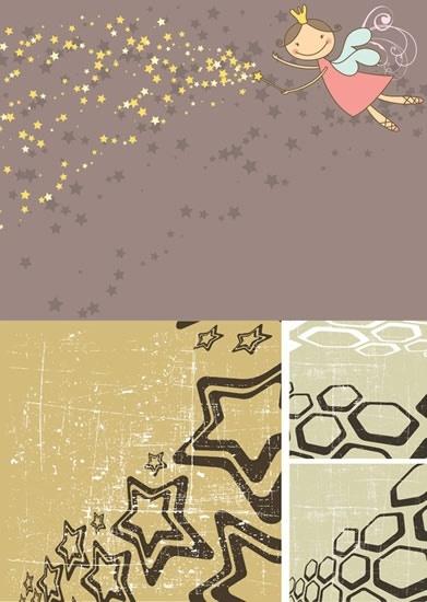 decorative backgrounds fairy stars polygons decor retro design