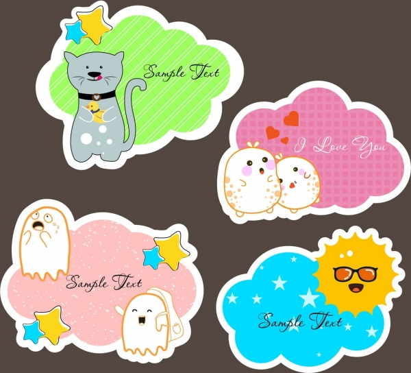 cute stickers decoration stylized cat ghost sun icons