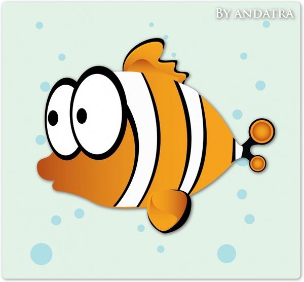 fish painting cute cartoon design