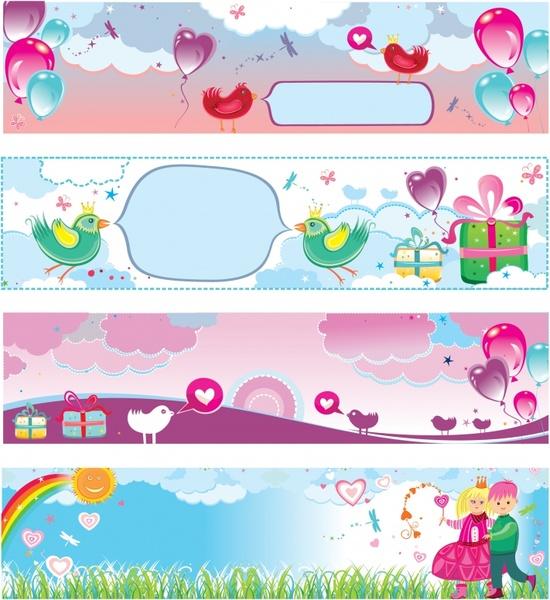 celebration banners cute colorful handdrawn decor horizontal design