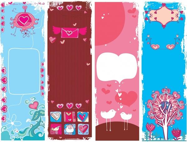 romance background templates love symbols decor multicolored retro