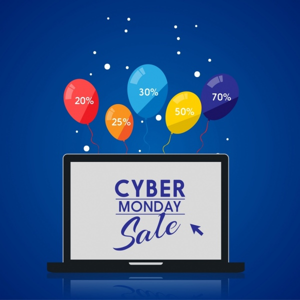 cyber monday sale banner colorful balloons laptop screen
