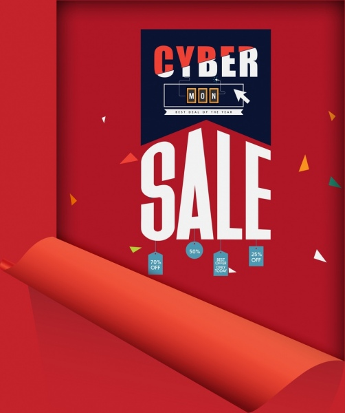 cyber monday sale banner red rolled sheet decor