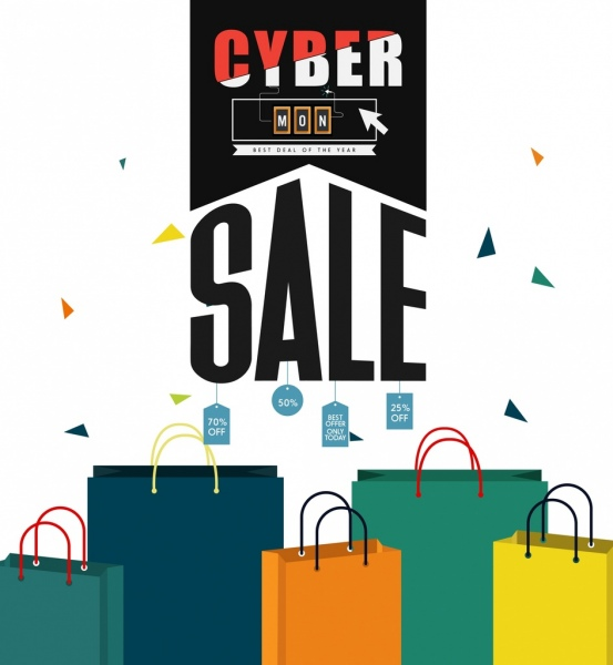 cyber monday sale banner webpage style 3d bags