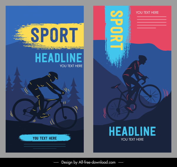 cycling sport banners dark silhouette dynamic design