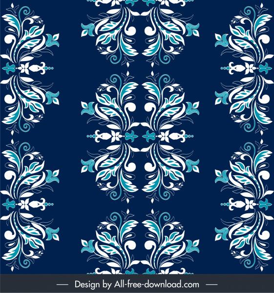damask pattern flat classical symmetric repeating floral sketch