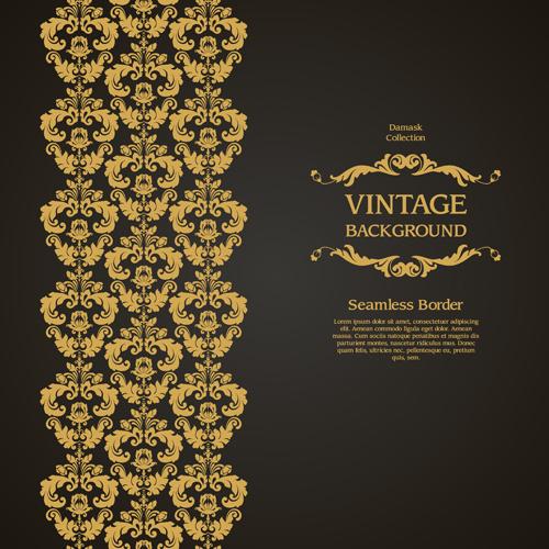 damask seamless border vintage background vector