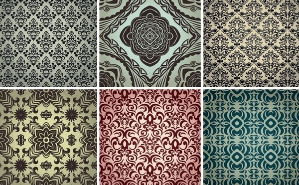 floral seamless patterns collection classical damask style