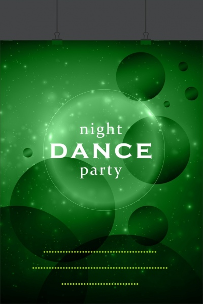 dance party banner bright green circles decoration