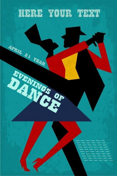dance party banner dancer silhouette geometric ornament