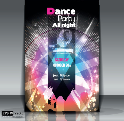 dance party flyer cover template vector