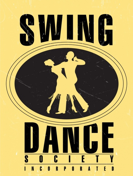 dancing advertisement poster retro design dancers icons silhouette