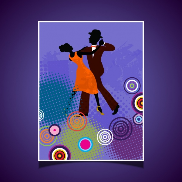 dancing background dancer silhouette colorful circles ornament