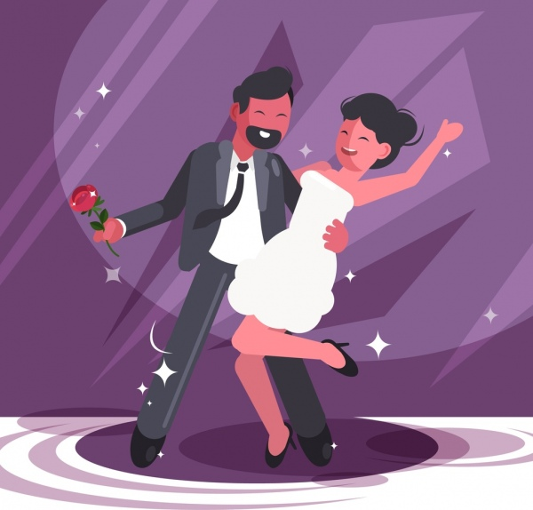 dancing background happy couple icon cartoon design