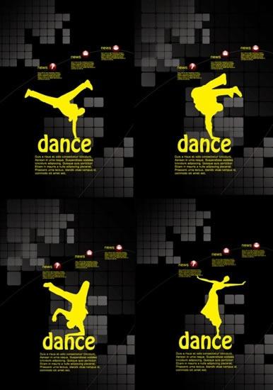 dancing background templates human silhouette modern dark decor