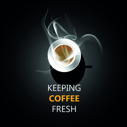 dark background with fresh coffee cup vector