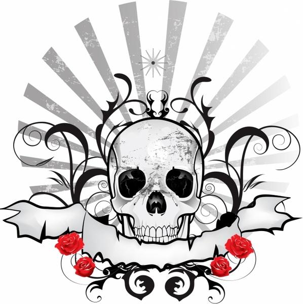 dark black skull ribbon emblem