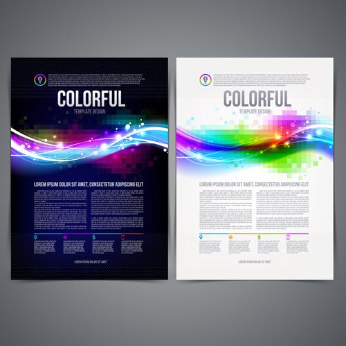 dark blue style brochure cover vector