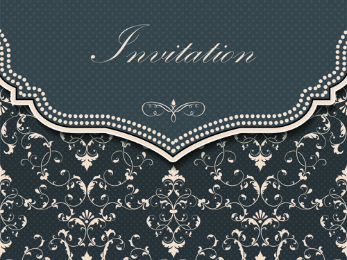 Dark gray floral invitation cards vector free vector in encapsulated dark gray floral invitation cards vector free vector 221mb stopboris Images