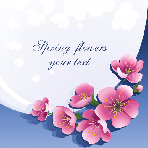 Dark Pink Flower Spring Background Set Vector Free Vector