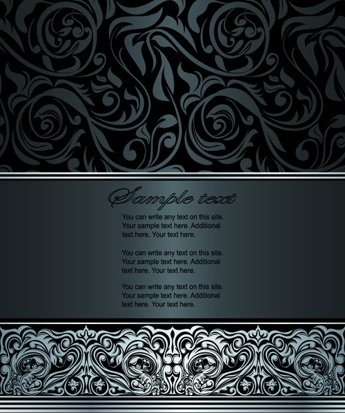 dark style floral vintage backgrounds vector graphics
