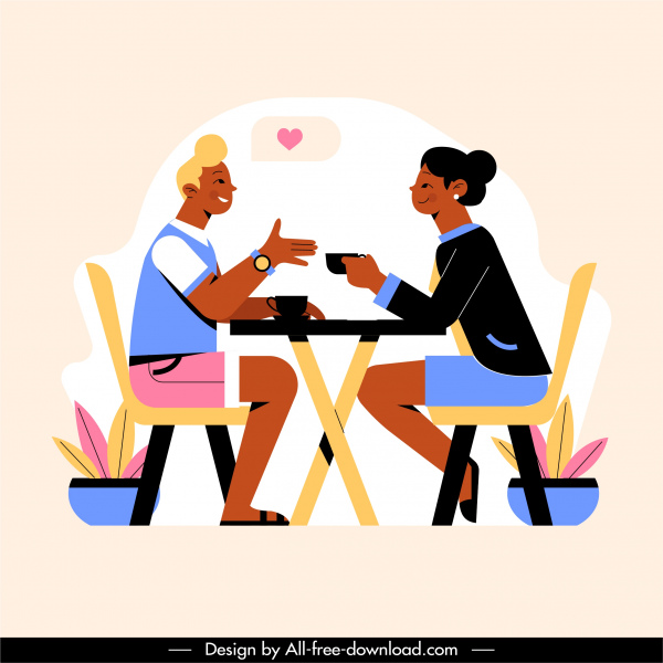 dating painting couple coffee break sketch cartoon characters
