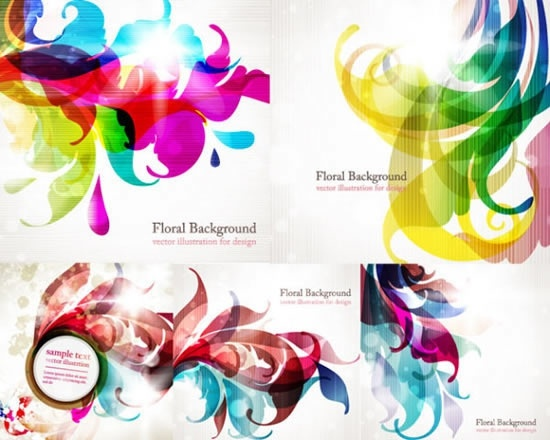floral background templates blurred colors blend decor