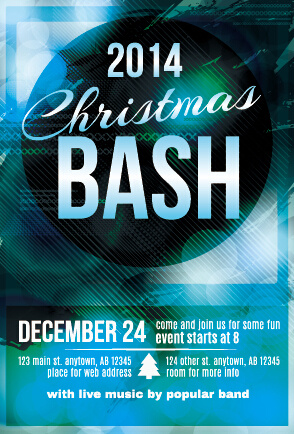 december christmas party flyer cover vector