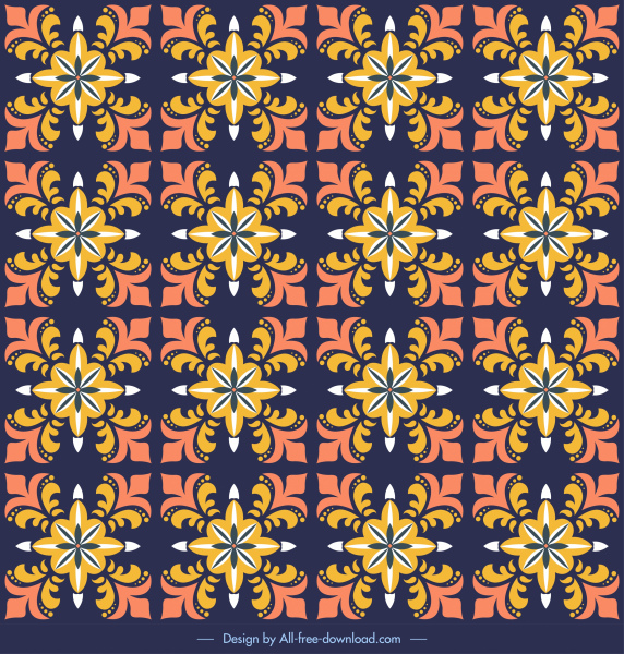 decor pattern template classical repeating symmetric flora sketch