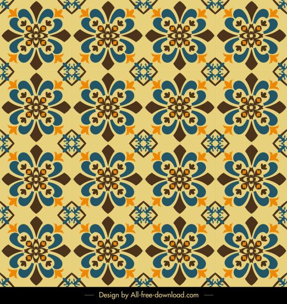 decor pattern template repeating flora sketch retro symmetric
