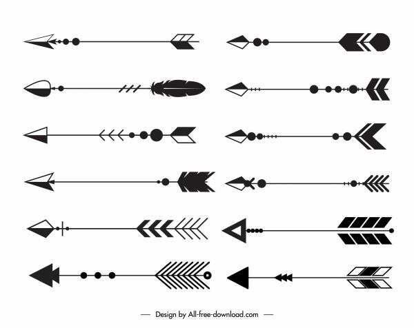 decorative arrows icons black white classic tribal sketch