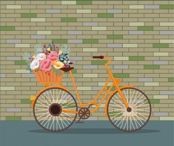 decorative background bicycle flowers basket icons classical decor