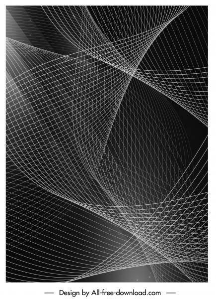 decorative background black white modern 3d dynamic curves