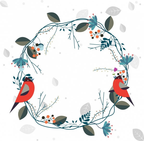 decorative background flowers wreath birds icons decor