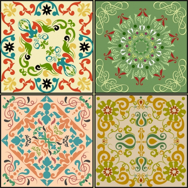 decorative background sets colorful classical symmetric decoration