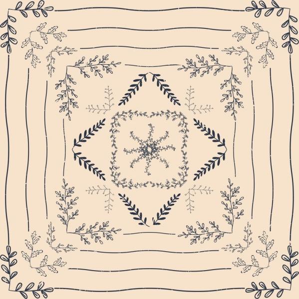 decorative background symmetric classical leaves ornament