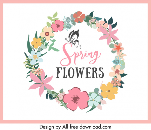 decorative background template colorful spring floral wreath