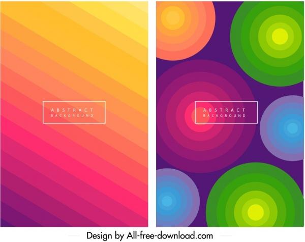 decorative background templates colorful circles stripes decor