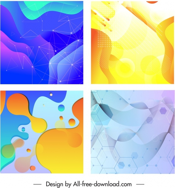 decorative background templates colorful geometric deformed shapes decor